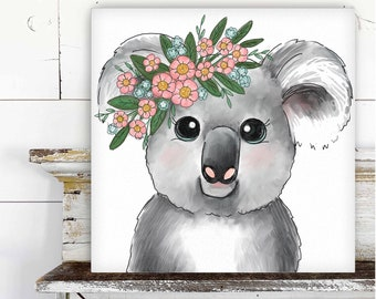 Koala with Floral Crown Printed Canvas