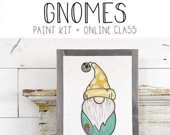 Gnomes (option 2) - Paint Class Kit + Online Class