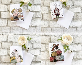 Farmers Market Card Collection - Cow, Pig, Chicken, Llama - Set of 4 Blank Greeting Cards