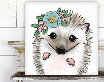 Hedgehog with Floral Crown Printed Canvas