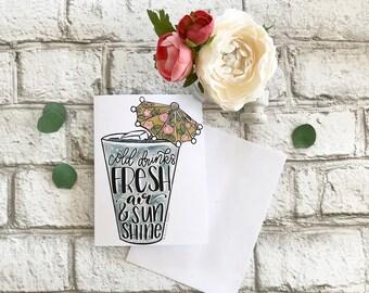 Cold Drinks, Fresh Air & Sunshine - Blank Greeting Card