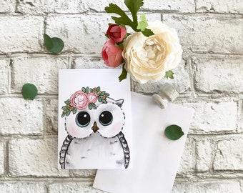 Owl - Blank Greeting Card