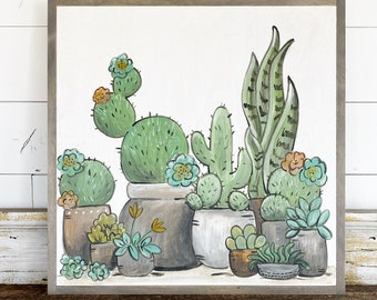 Made to Order / Cactus / Hand Lettered & Painted sign on Wood Canvas / 24x24