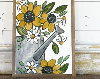 Sunflowers and Daisies Watering Can