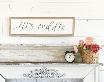 Let's Cuddle / Hand Lettered and Painted sign on Wood Canvas / 6x24