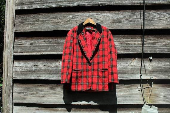 Vintage 90s Red Wool Blazer with Velvet - image 1