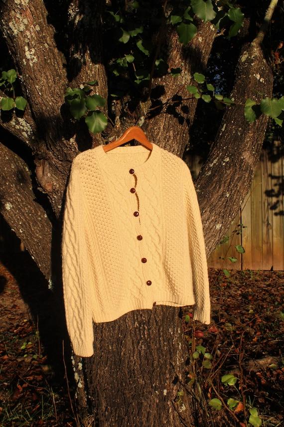 Vintage 60's Hand-Made Irish Knit Cardigan