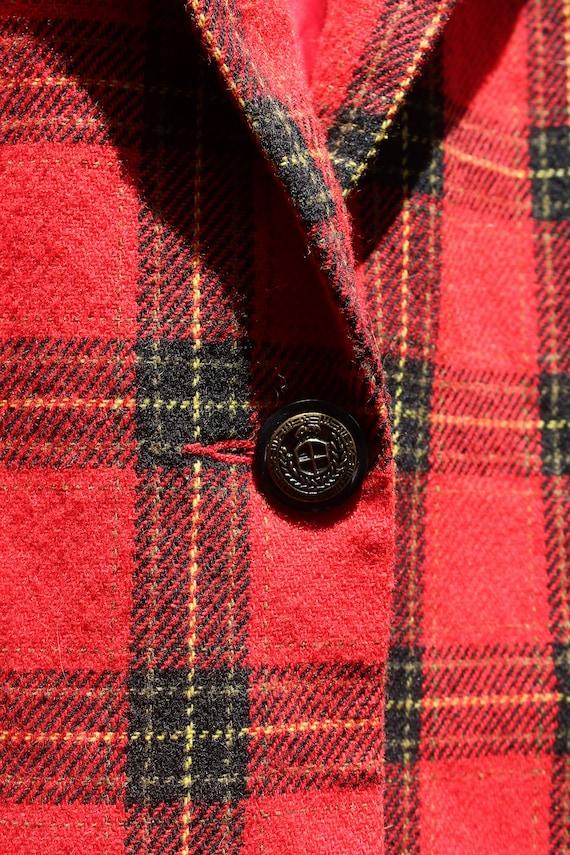 Vintage 90s Red Wool Blazer with Velvet - image 4