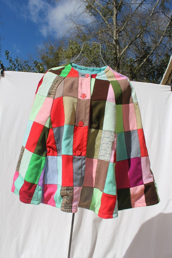 Vintage 70s Homemade Patchwork Poncho