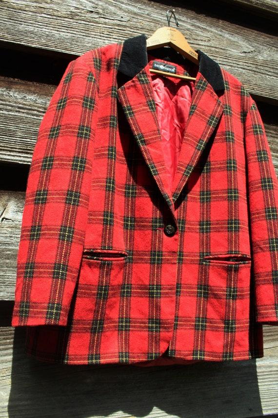 Vintage 90s Red Wool Blazer with Velvet - image 3