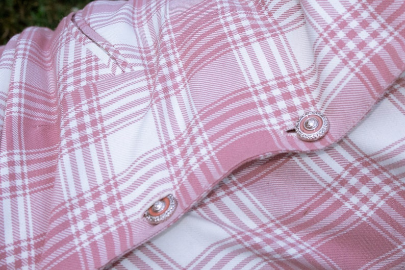 Vintage 90/'s Pink Plaid Dress with Bold Buttons