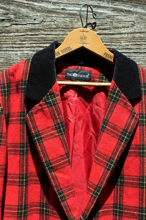Vintage 90s Red Wool Blazer with Velvet - image 2