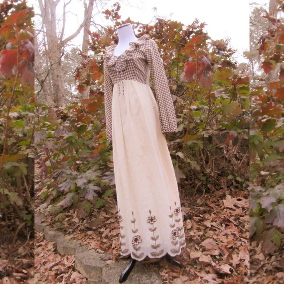 Vintage 70's Brown Gingham Candi Jones Long Dress