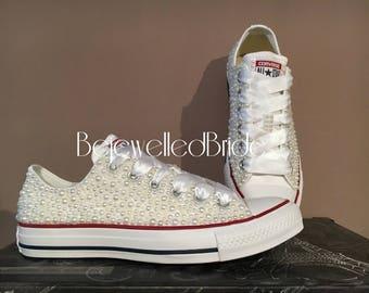 9b9c2dfddc4eff Gorgeous Wedding Converse All Star Chucks with White pearls