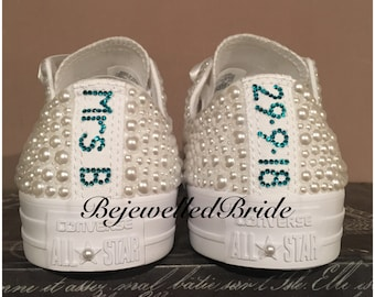 45c39f87737c98 Personalised White Wedding Converse