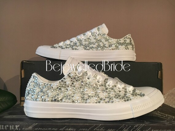 Wedding Converse all white   Fully covered in Crystal Pearl  5a76fae3e