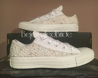 Ready To Ship! Wedding converse with pearl and crystal size uk 4, usa 6, euro 36.5