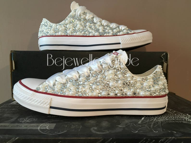 Stunning Wedding Converse All Stars covered with Sparkly  0d11b6bc35