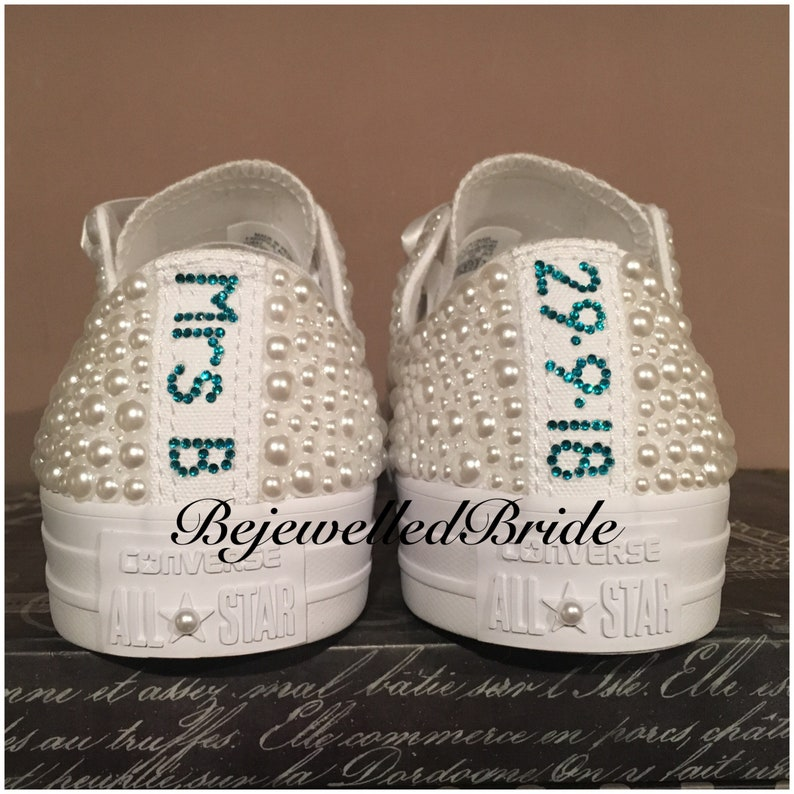 Magnifique Blanc Mariage Converse avec cristal et perle, UK
