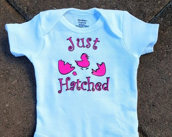 Baby Girl Just Hatched Baby Bodysuit. Custom Organic Onesies.  Take Home Outfit. Newborn Outfit