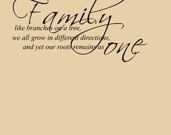 Family Roots Family As One Family Wall Decal Home Quote Etsy