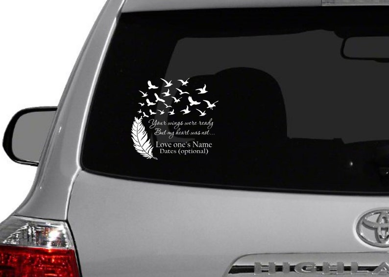 In Loving Memory Car Decals >> Wings Were Ready Loving Memory Car Decal Cancer Ribbon Memory Decal In Loving Memory Car Decals