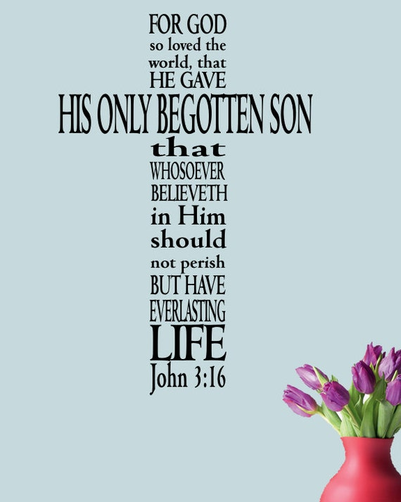 john 3 16 bible verse decal marriage wall decal home quote etsy