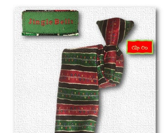 Vintage Youth Christmas Tie, Necktie, Clip On, Child Necktie, Youth Tie, Boys Christmas Tie, Kids Clip-on Tie, Holiday Tie, Red, Green