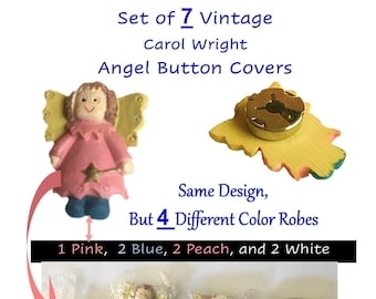 Vintage Button Covers, ANGELS, CAROL WRIGHT, 80s, New Old Stock, Removable Covers, Button Fasteners, Retro Button Covers, Covers for Buttons