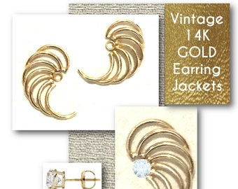 Vintage, AA  585, 14k Gold, EARRING JACKETS, Estate, Gift For Her, Mom, Mother's Day, Excellent Condition, Swirl, Feather, Wedding, Jewelry