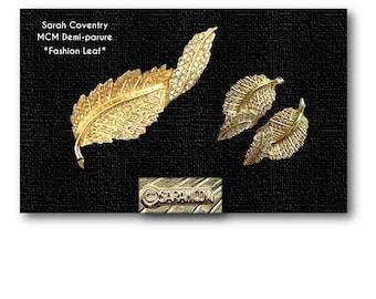 Vintage, Sarah Coventry, Fashion Leaf, Demi-Parure, Brooch, Pin, Clip, Earrings, 1961, MCM, Sara, Gold Tone, Twisted Leaf Set, Rhinestones