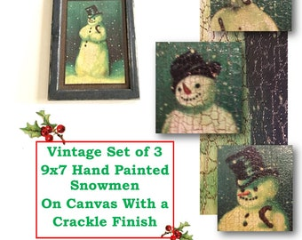 Vintage Snowmen Pictures, Snowman, Crackle Finish, Vintage Snowman, Hand Made, Framed, Painted, Canvas, Winter, Snow, Holiday, Christmas