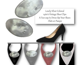 Vintage 60's, Shoe Clips, Accessories, Dressy, Wedding Shoe, Jewelry, Clips, MCM, Silver, Pearlized, Grey, Mod, Lustre, Lucite, Shoe Accents