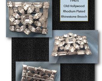 Vintage Rhinestone & Rhodium Plated Brooch, 1940's, Pin, High Fashion, Designer, Clear Stones, Wedding Jewelry, Vintage Pin, OLD HOLLYWOOD