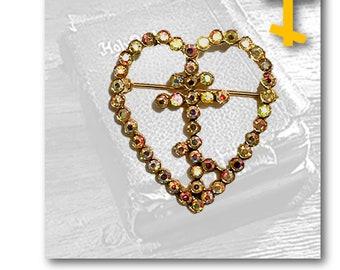 Russian Orthodox, Cross, St. Andrew Cross, 3 Bar Cross, Rhinestone Heart, Brooch, Christian, Byzantine, Crucifix, Religious, Vintage Jewelry