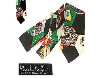 Vintage, Nicole Miller, Tie, BOYS, Youth, Necktie, Silk, World Cup, Soccer, Sports, Vintage Tie, Small, Young Sheldon, RARE Nicole Miller