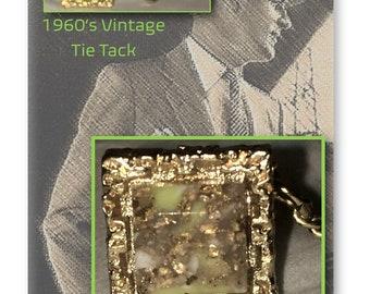 Vintage Tie Tack, Tie Tack Pin, Necktie Pin, Chain,  Faux Epidote, Gold Tone, Formal Wear, Men's Wedding Jewelry, Gift, Tie Accessory, 1960s