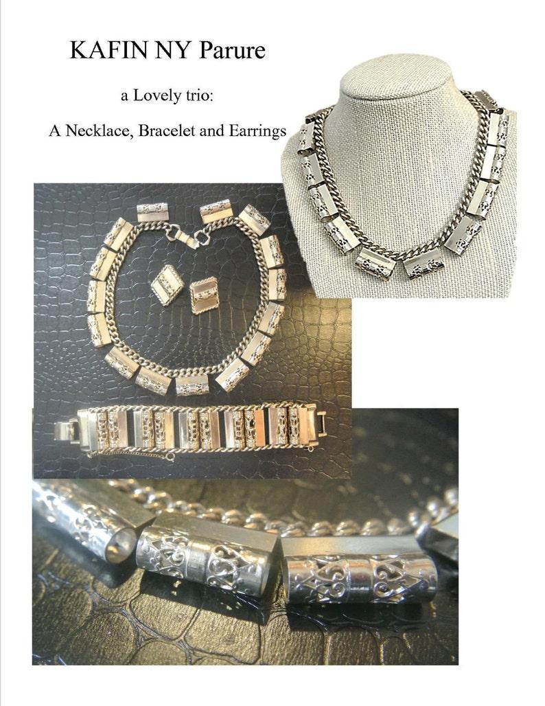 Earrings Bracelet Vintage PARURE Kafin NY KAFIN Vintage Jewelry Necklace Gold Tone Set Clip Signed Accessories 60/'s Women/'s