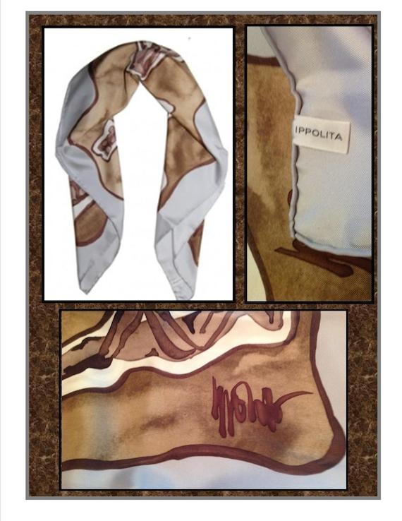 Vintage Scarf, Ippolita, Men, Print, 100% Silk, S… - image 1