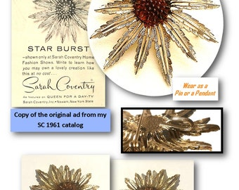 SARAH COVENTRY, Star Burst, 1961, Demi Parure, Brooch, Pin, Clip-on Earrings, Sunflower, Jewelry Set, Atomic, Flower, MCM Jewelry, 60s, Mod