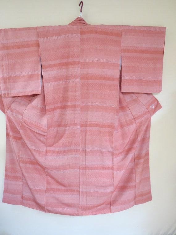 KIMONO / Japanese Vintage Silk Kimono/Salmon Patch