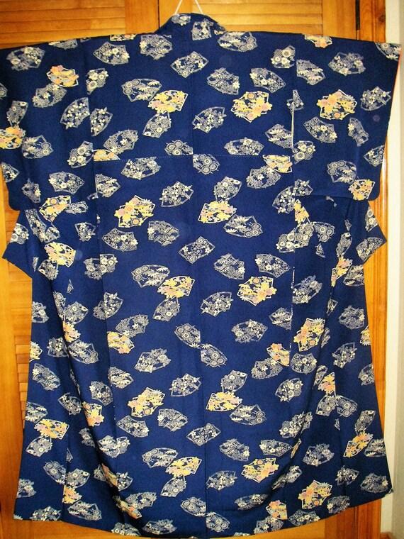 Kimono Japanese Navy Blue Button Kimono