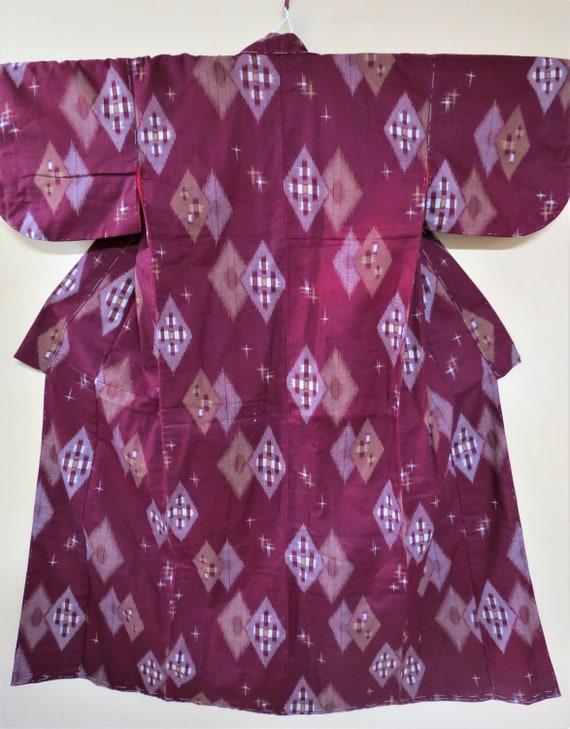 Kimono / Ikat Kasuri / Antique Japanese Kimono / C