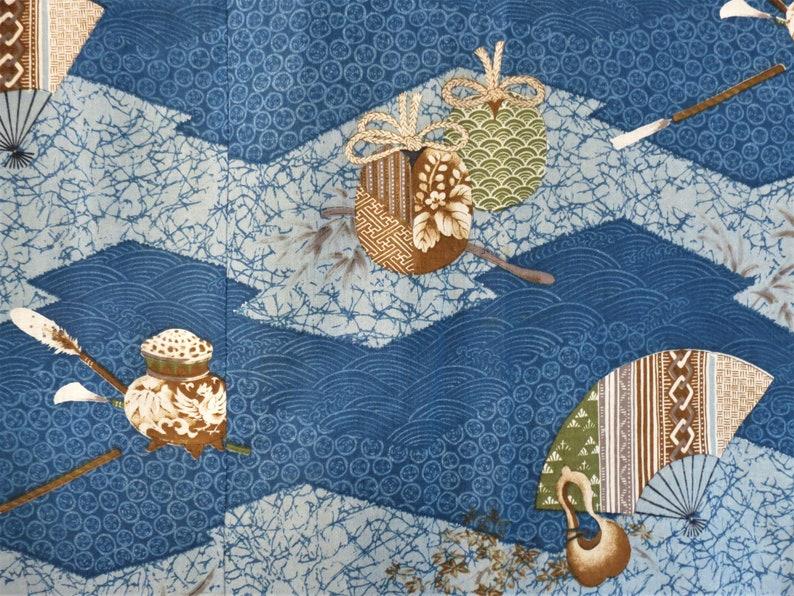 MENS KIMONO JUBAN Vintage Japanese Unworn Juban Underkimono UnLined Navy Collar Mans Japanese Juban Blue Kimono Fans Pottery Gourds Robe