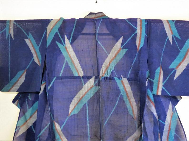 Kimono  Kasuri  See Through  Sheer Silk  Antique  Japanese Kimono  Unlined Kimono  Sheer Kimono  Boho  Geisha Robe  Arrow Feather