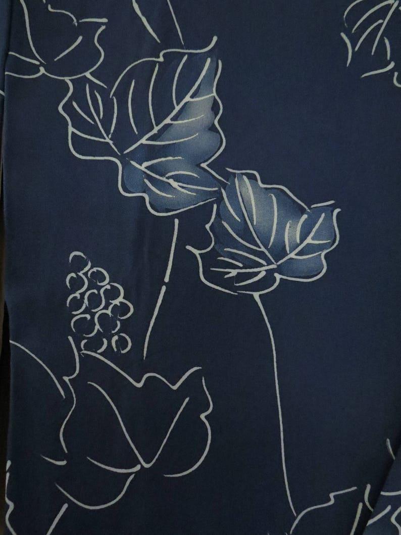 Kimono  Antique  Japanese Silk Kimono  Indigo  Grape Vine  Vintage Blue Komon Japanese Silk Kimono  Boho Robe  Geisha Robe  Gift Her