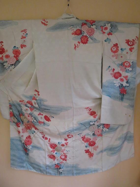 Kimono Silk Japanese Vintage Furisode Kimono Embroidered Mums  f61d900ed