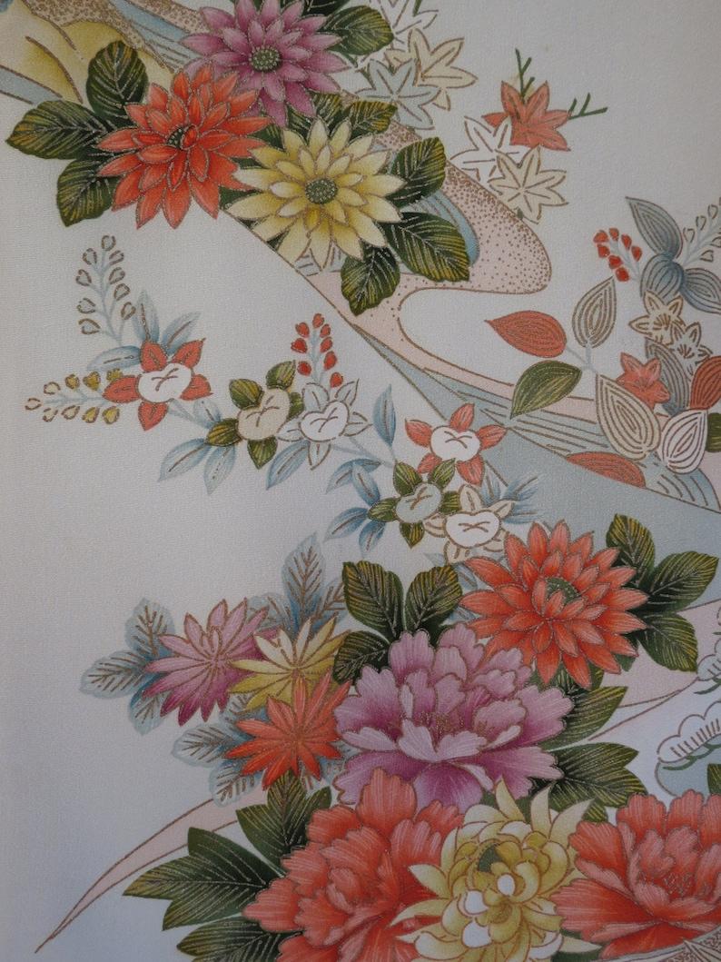 SHOWA KIMONO  HOMONGI  Antique Japanese Silk Kimono  Boho Clothing  Embroidery  Handpainted  Embroidered  Home Decor  Gift for Mom
