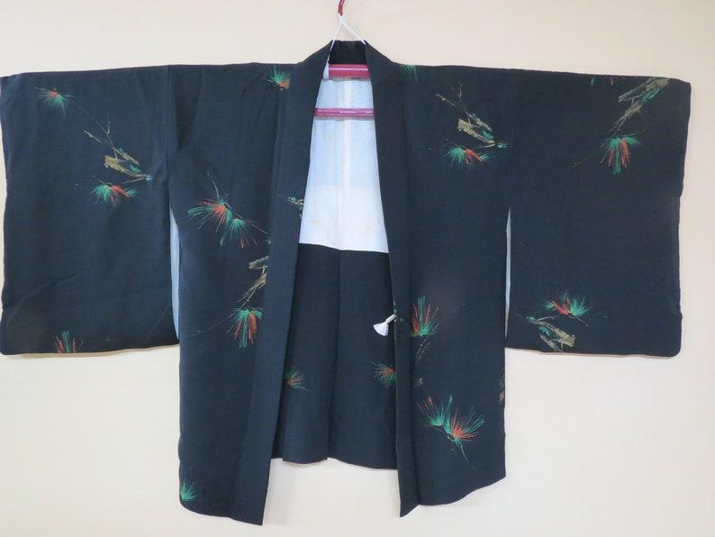 HAORI  SILK  URUSHI  Vintage Japanese Haori  Jacket  Winter Pine  1 Mon  Black Silk Haori  Kimono Jacket  Vintage  Gift for Her