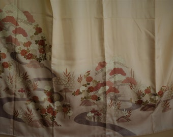KIMONO ART IroTomesode Vintage Japanese Silk 1 Mon Kimono Garden River Flower Iris ChrysantheMum Pine Fine Silk Japanese Kimono Wearable Art